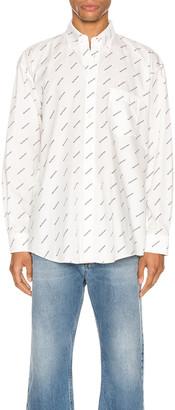 Balenciaga Normal Fit Long Sleeve Shirt in White & Black | FWRD