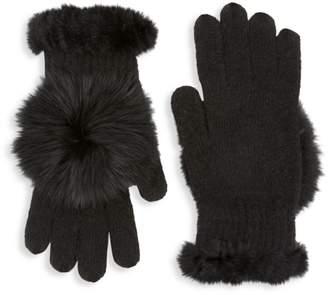 Glamour Puss Glamourpuss Rabbit Fur & Fox Fur-Trimmed Knit Gloves