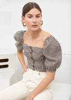 And other stories Linen Puff Sleeve Gingham Top