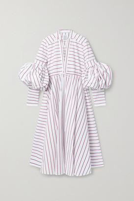 Rosie Assoulin Lantern Striped Cotton-poplin Midi Dress - Red