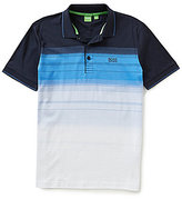HUGO BOSS BOSS Green Paddy 3 Gradient Horizontal-Stripe Short-Sleeve Polo Shirt