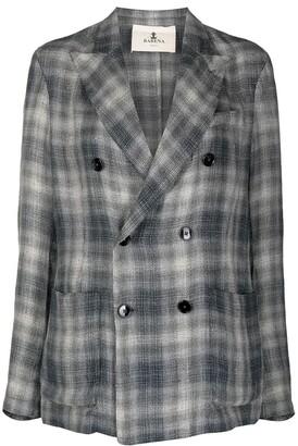 Barena Check Print Double-Breasted Blazer
