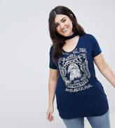 Koko Cut Out V-Neckline Motif T-Shirt