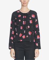 CeCe Floral-Print Tie-Neck Top