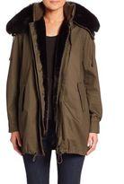 Derek Lam 10 Crosby Two-In-One Fox Fur Collar Parka & Faux Fur-Lined Vest