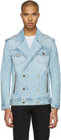 Balmain Blue Double-Breasted Denim Jacket