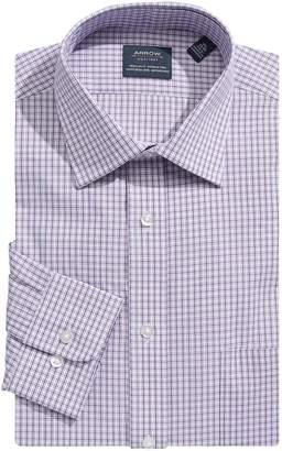 Arrow Plaid Spread-Collar Dress Shirt