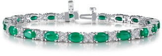 Lafonn Platinum Bonded Sterling Silver Simulated Diamond & Emerald Tennis Bracelet