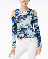 Bar III Hacci Printed Cold-Shoulder Top, Only at Macy's