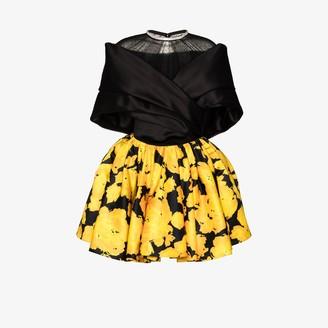 Richard Quinn Exaggerated collar floral silk mini dress