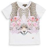 Roberto Cavalli Little Girl's Floral & Leopard Graphic Tee