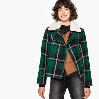 La Redoute Collections Faux Sheepskin Checked Aviator Jacket