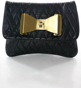 Felix Rey Black Quilted Leather Small Gold Tone Flap Clutch Handbag