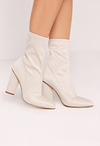 Missguided Pointed Toe Neoprene Heeled Ankle Boots Cream