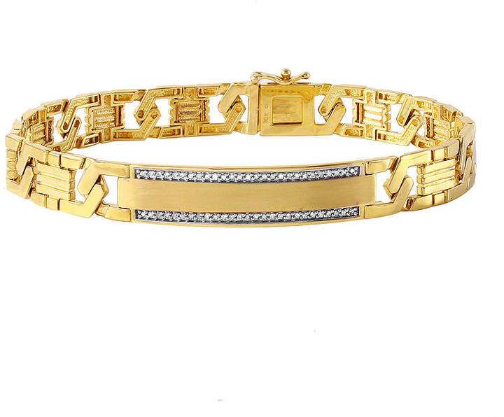 JCPenney FINE JEWELRY Mens 1/6 CT. T.W. Diamond 10K Gold Link Bracelet