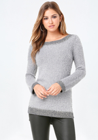 Bebe Metallic Hi-Lo Sweater