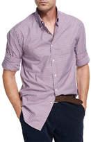 Brunello Cucinelli Multi-Check Twill Cotton Shirt, Red/White