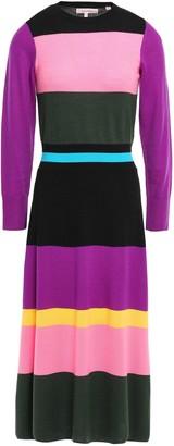 Parker Chinti & Color-block Wool Midi Dress