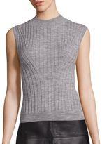 Rebecca Taylor Rib-Knit Mockneck Pullover