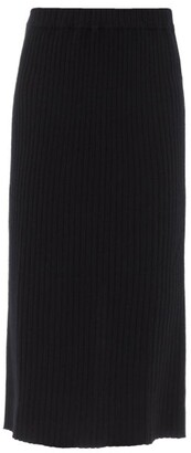 Allude Ribbed-knit Cashmere Midi Skirt - Black