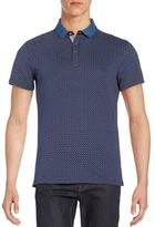Saks Fifth Avenue Trim-Fit Printed Denim-Collar Polo Shirt