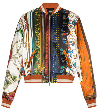 Amiri Scarf Patchwork Printed Bomber in Multi-Color | FWRD