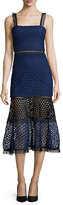 Alexis Erin Bicolor Crochet & Lace Midi Dress, Black/Navy