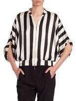 Armani Collezioni Armani Jeans Striped Silk Dolby-Striped Blouse