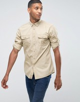 United Colors Of Benetton Regular Fit Long Sleeve Military Shirt With Button Down Collar And Rollback Sleeve Detail