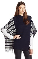 French Connection Women's Hatty Tartan Knits Poncho
