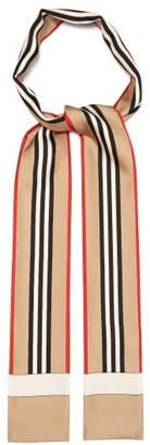 Burberry Icon Stripe Print Silk Skinny Scarf - Mens - Beige Multi