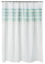 Threshold Shower Curtain - Green Stripe Fringe