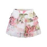 Miss Blumarine Miss BlumarineWhite Floral Silk Skirt