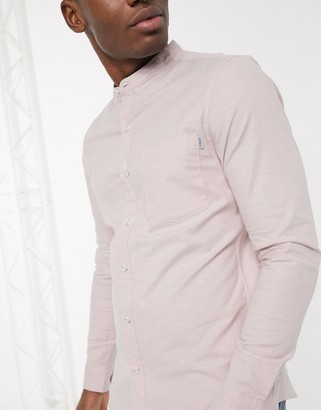 Topman long sleeve oxford shirt with grandad collar in pink