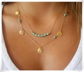 Flowers Turquoise Necklace; Set of 2 Necklaces; Layered Necklace; Gold Filled Necklace; Turquoise Coin Necklace; Boho Necklace