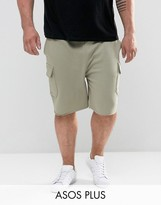 Asos Plus Skinny Jersey Shorts With Cargo Pockets In Green