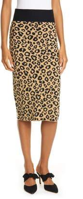 Veronica Beard Bethel Leopard Jacquard Wool Pencil Skirt