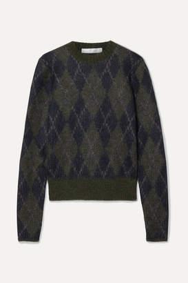 Victoria Beckham Argyle Mohair-blend Sweater - Midnight blue