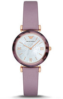 Emporio Armani Mother-of-Pearl Analog Leather-Strap Watch