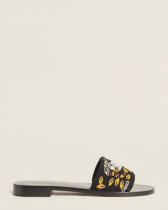 Christian Dior Black Tarot Embroidered Slide Sandals