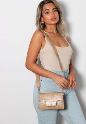 Missguided Taupe Faux Leather Self Fabric Envelope Cross Body Bag