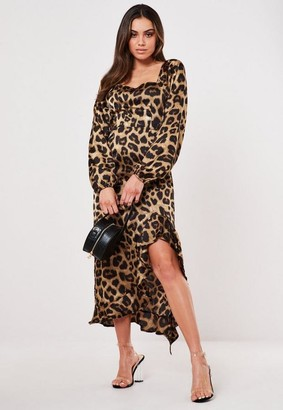 Missguided Brown Leopard Print Ruffle Hem Midi Dress