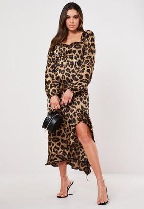 Missguided Leopard Print Ruffle Hem Midi Dress