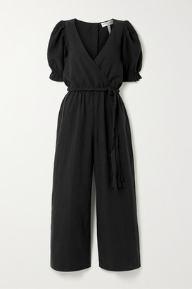 Apiece Apart Chabrol Belted Wrap-effect Tencel And Linen-blend Jumpsuit - Black