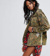 Reclaimed Vintage Revived Festival Camo Military Jacket With Rhinestone Fish Patches