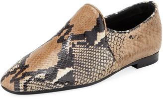 Aquatalia Revy Flat Snake-Print Loafers