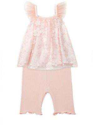 Miniclasix Baby Girl's 2-Piece Floral Mesh-Overlay Top & Capri Leggings Set