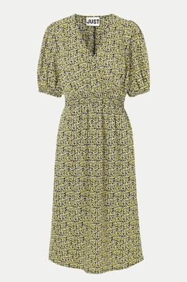 Just Female Multi Flower Print Dove Dress - XSMALL