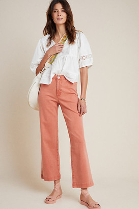 Paige Nellie Ultra High-Rise Culotte Jeans By in Orange Size 25