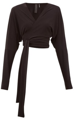 Norma Kamali Dolman-sleeve Stretch-jersey Wrap Top - Black